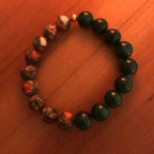 Impression Jasper & Green Jade 10 mm Bead Bracelet